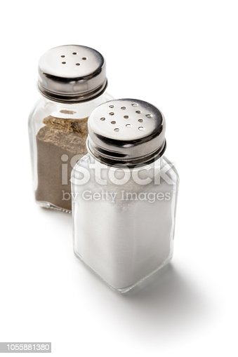 Seasoning: Salt and Pepper Shakers Isolated on White Background