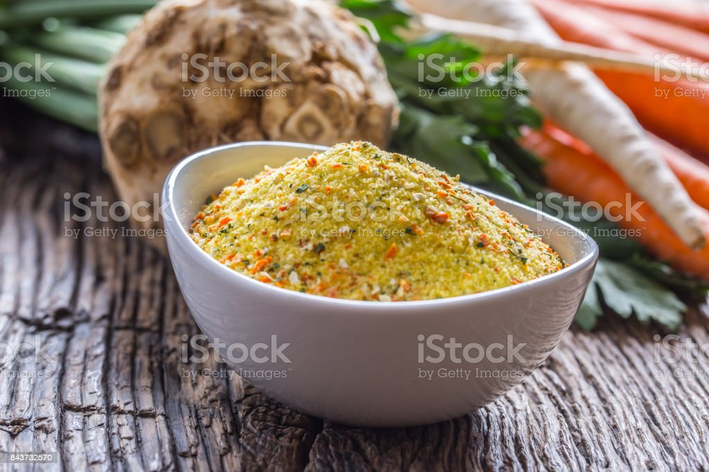 Seasoning spices condiment with dehydrated carrot parsley celery parsnips and salt with or without glutamate stock photo