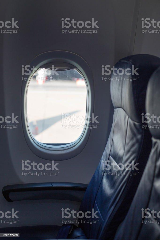 Seat Airplane beside window stock photo