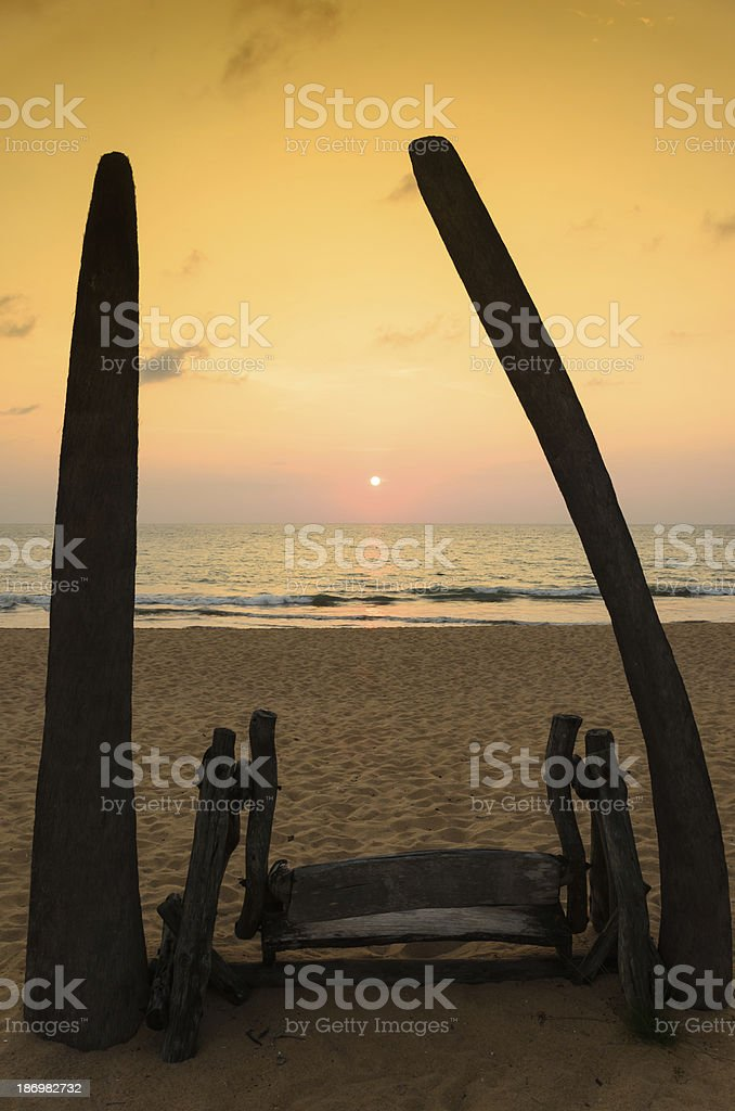 Seat at beach in the evening. royalty-free stock photo