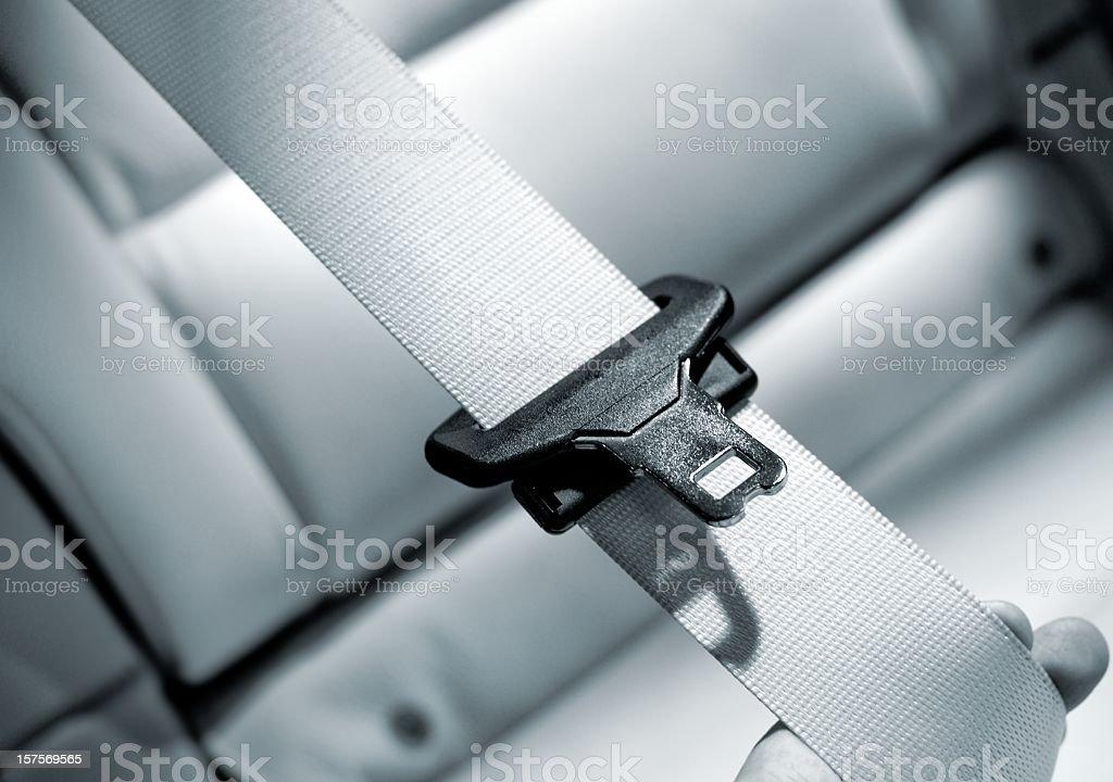 Seat belt Interior of modern car close up stock photo