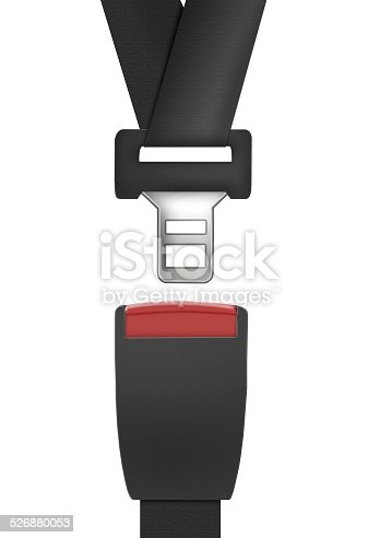 Car seat belt on white