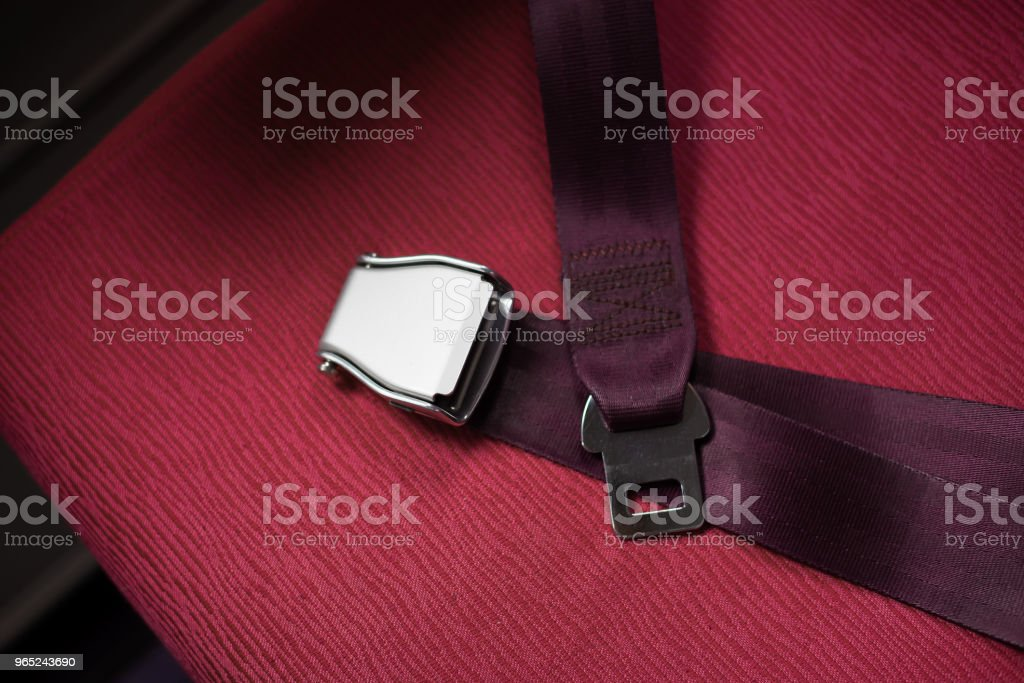 Seat belts on passenger aircraft royalty-free stock photo
