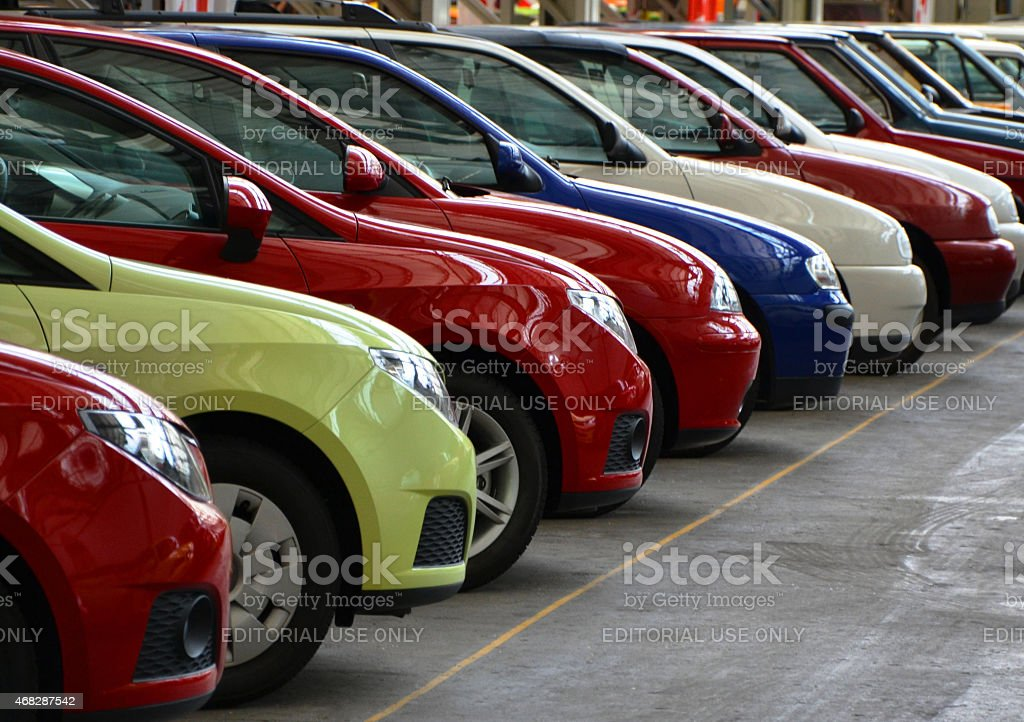 Seat cars in a row stock photo