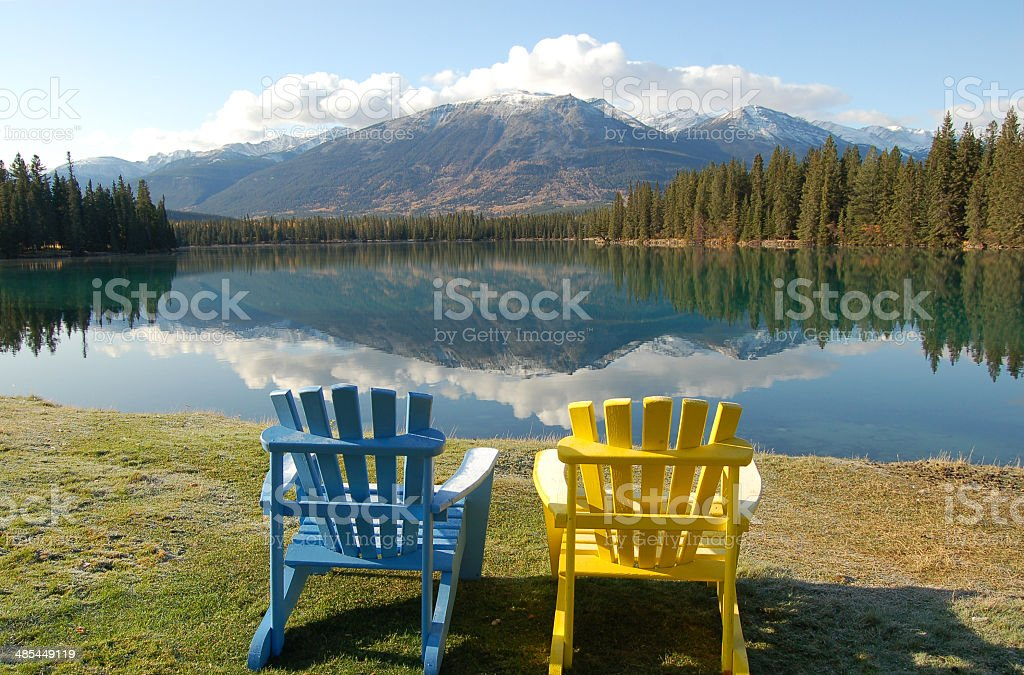 Seat for two in the Rockies stock photo
