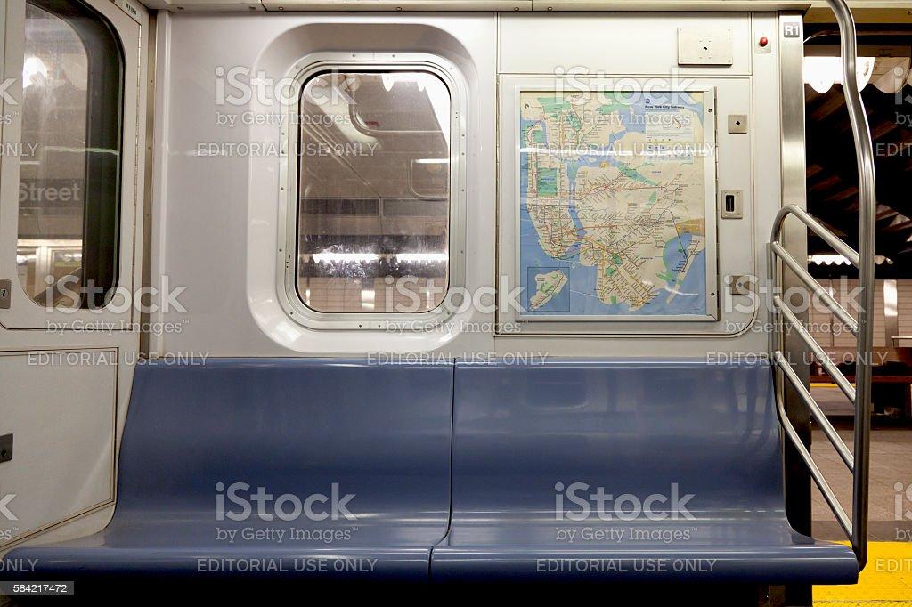 Seat of subway in New York stock photo
