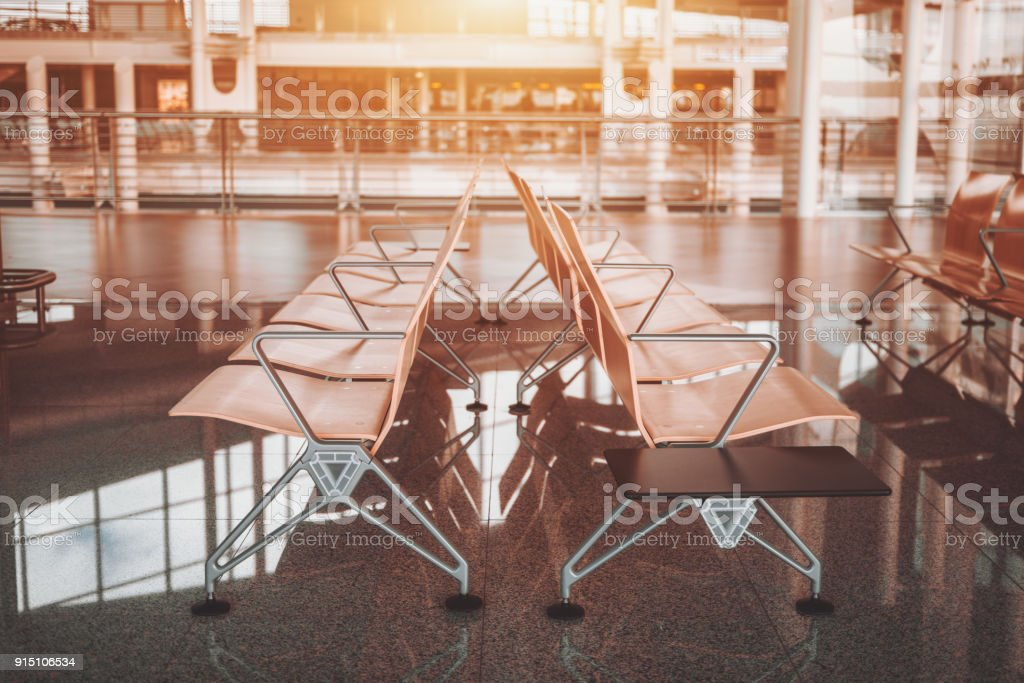 Seat rows in airport terminal or shopping mall stock photo