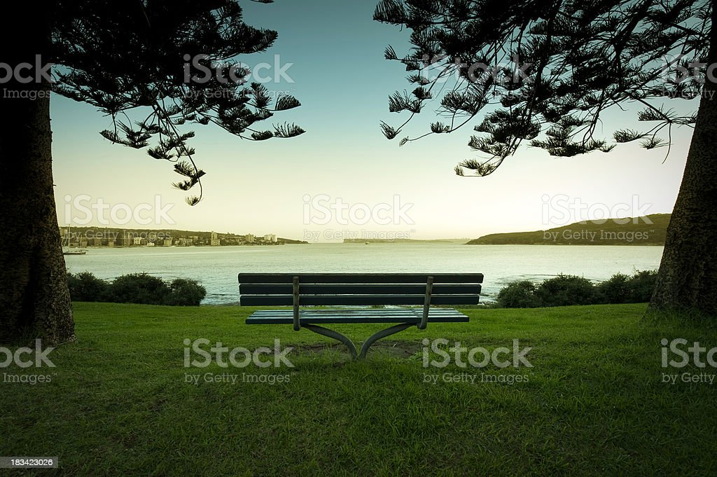 Seat with a sunset stock photo