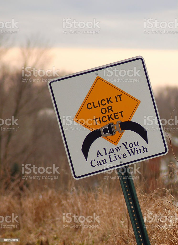 Seatbelt Law Road Sign stock photo
