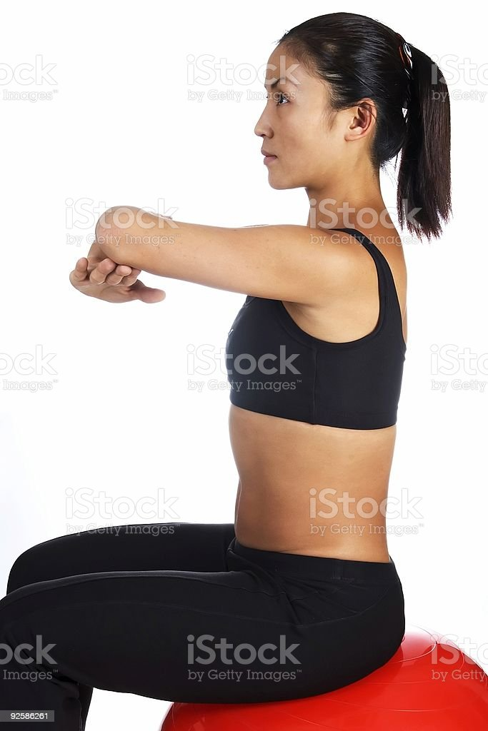 Seated Deltoid Stretch royalty-free stock photo