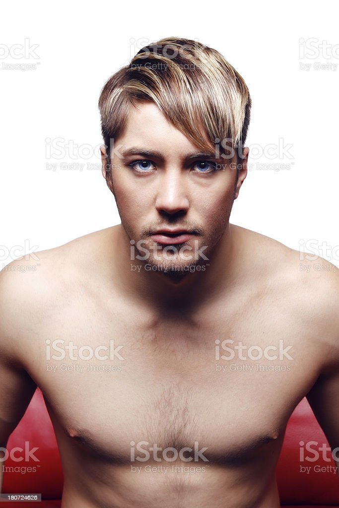 Seated man hair portrait royalty-free stock photo