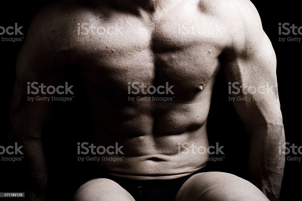 Seated Muscular Male Bodybuilder royalty-free stock photo