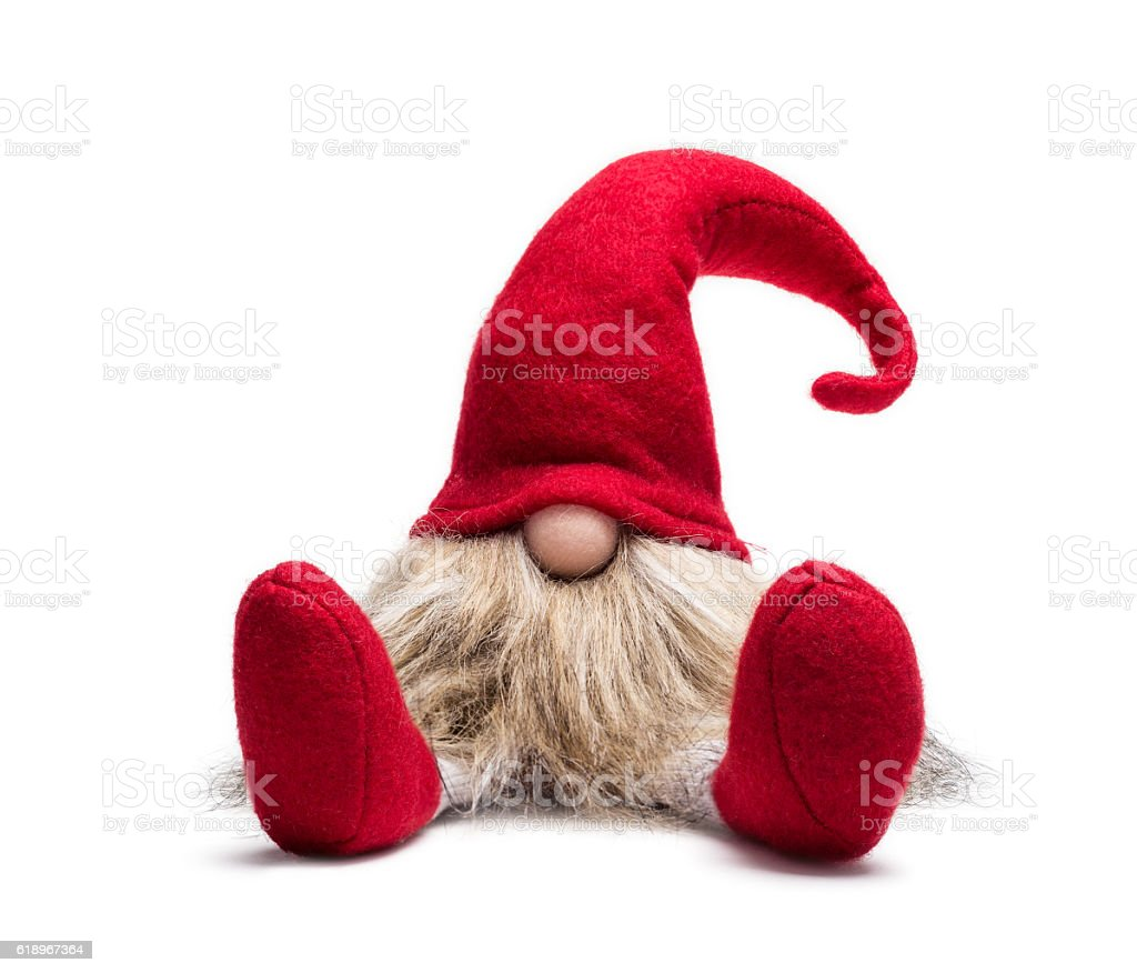 Seated red christmas dwarf stock photo