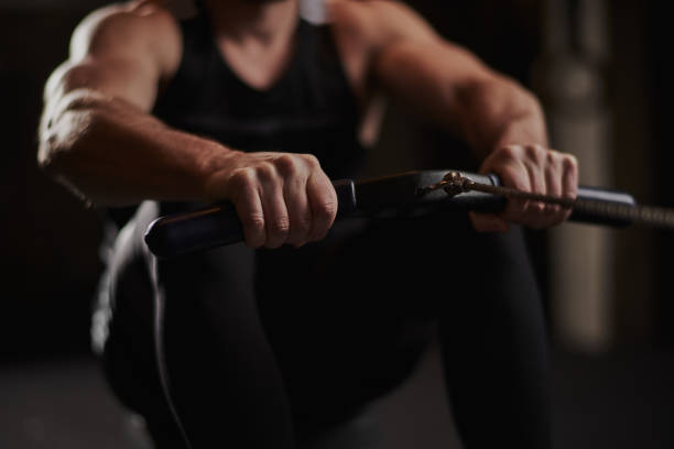 Seated rowing stock photo