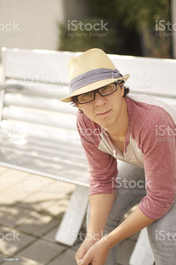 Seated Young Man stock photo