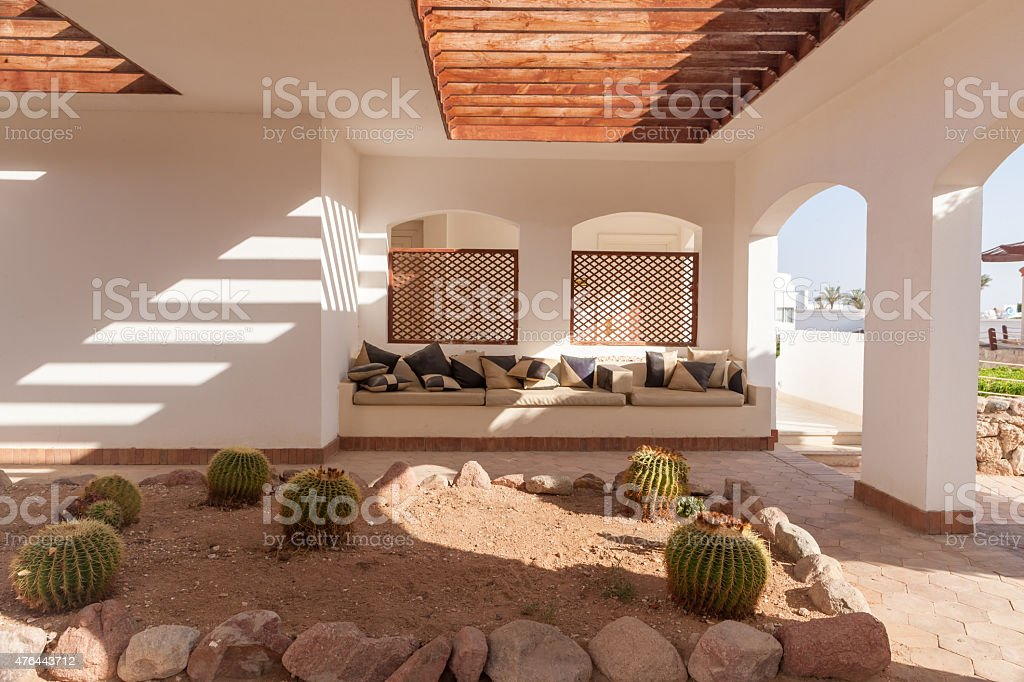 Seating Area with Sofas and cushions stock photo
