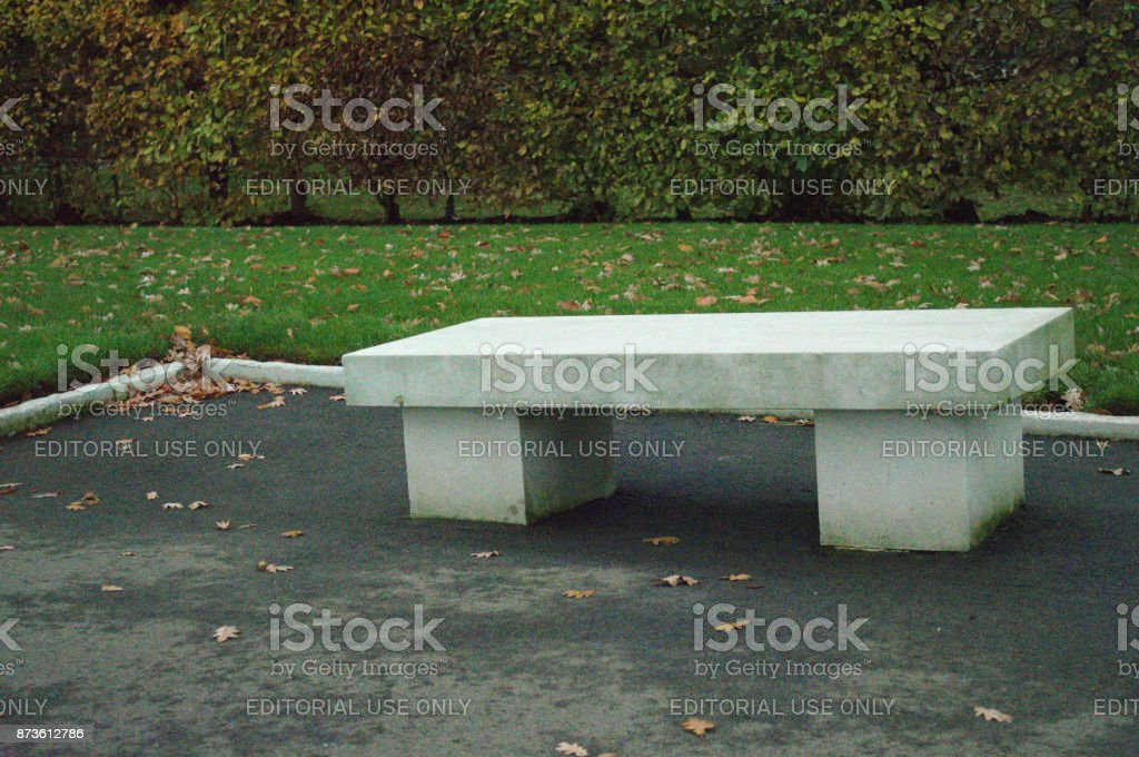 seating at Cambridge American Cemetery stock photo