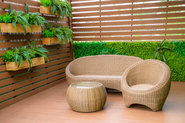 Seating in the garden on the balcony, is a recreation place. stock photo