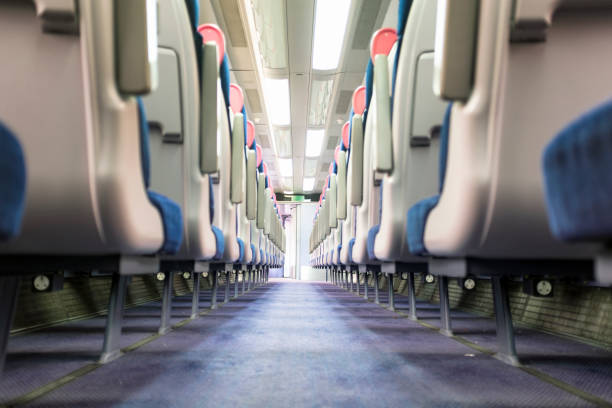 Seating Inside A Train Cabin stock photo