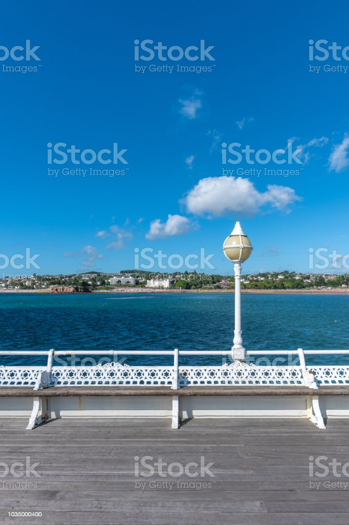 Seating on Princess Pier in Torquay, Devon stock photo