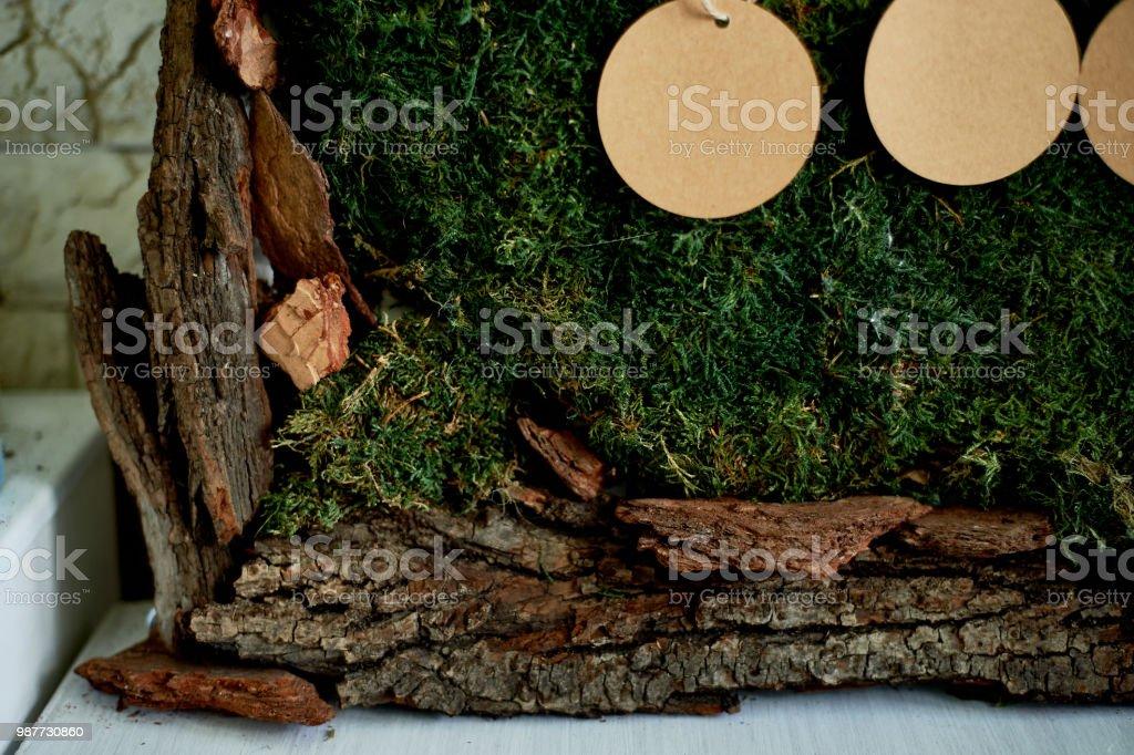 Sitzplan Hochzeit Dekoration Im Rustikalen Stil Moos Rinde