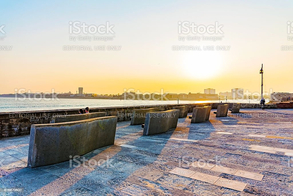 Seating platform at sunset stock photo