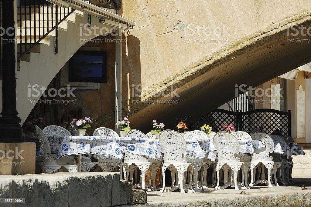 Seating under the Bridge royalty-free stock photo
