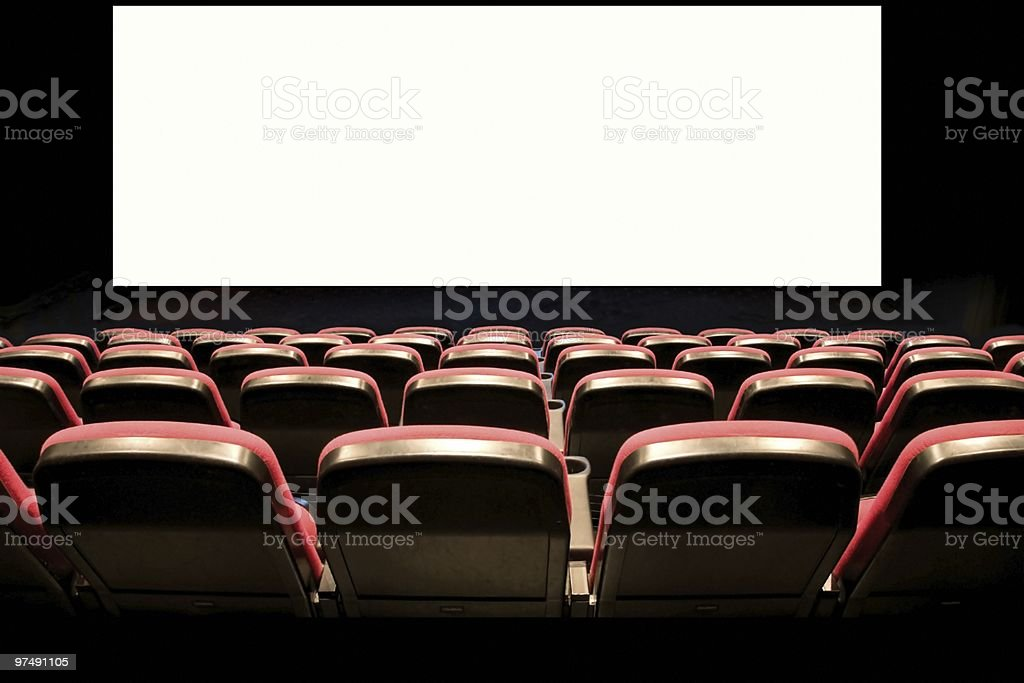 Seats and screen in a cinema royalty-free stock photo