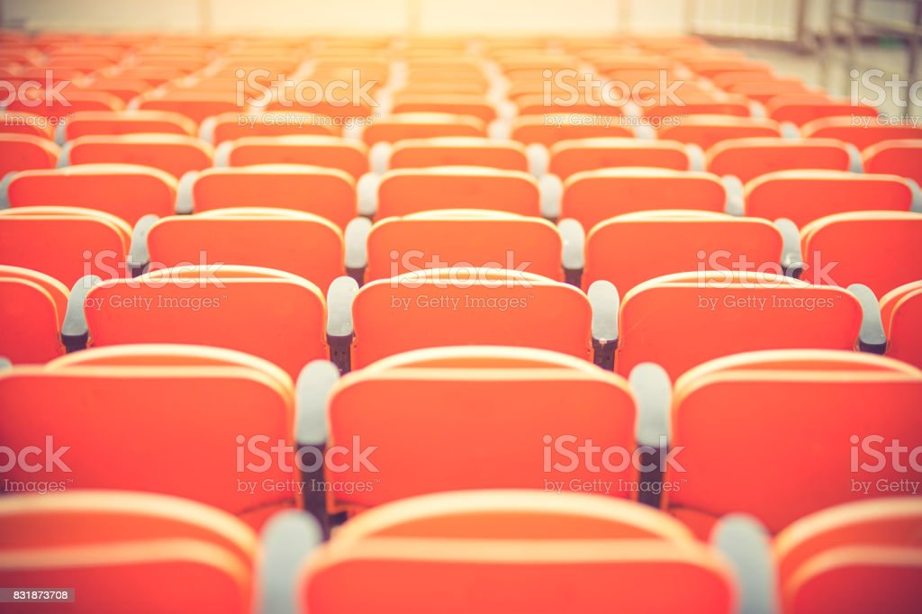 seats in a football stadium. Championship, football, places for spectators stock photo