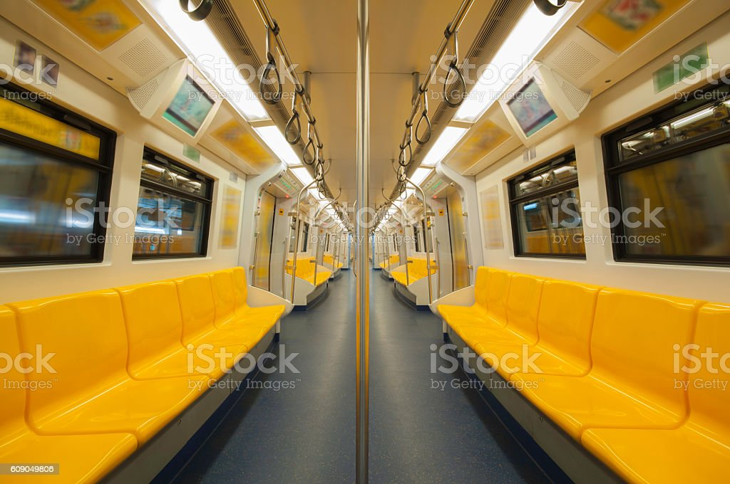 Seats in electric trains. stock photo