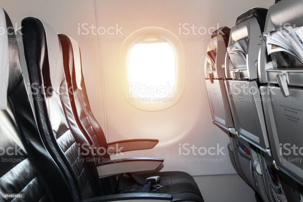 한 창 비행기의 좌석 - 로열티 프리 0명 스톡 사진