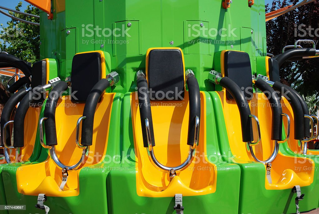 Seats of free fall tower stock photo