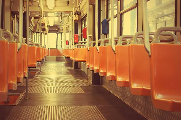 Seats of Milan tram stock photo