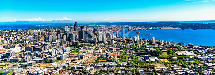 Downtown Seattle, Washington on the Puget Sound in the northwest United States.