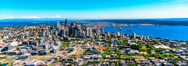 Seattle Aerial Panorama Downtown Seattle, Washington on the Puget Sound in the northwest United States. puget sound stock pictures, royalty-free photos & images