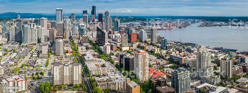 Seattle aerial panoramic view over downtown skyscrapers and harbor Washington stock photo