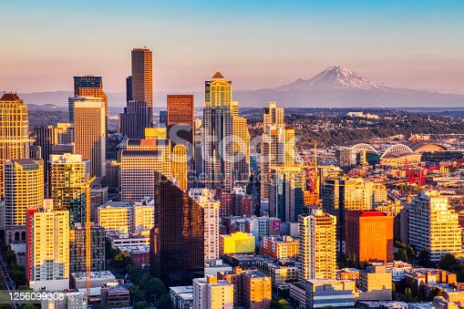 Seattle Aerial Skyline with Mt. Rainier in the Background at Sunset, Washington, USA