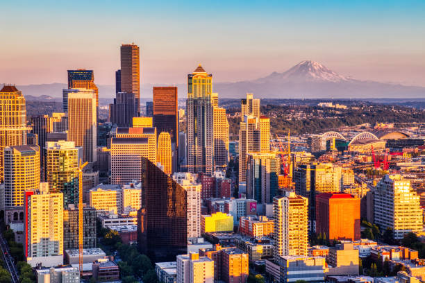 Seattle Aerial Skyline with Mt. Rainier in the Background at Sunset, Washington stock photo