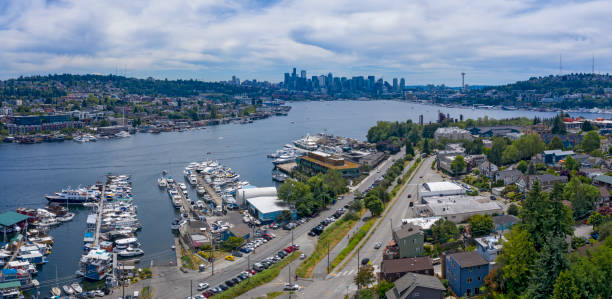 Seattle Aerial View of Lake Union Ship Docks Gas Works Downtown Skyline Wallingford stock photo