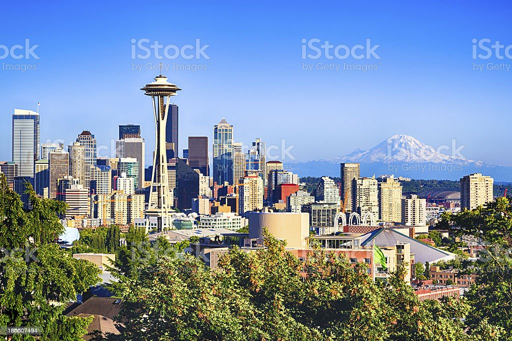 Seattle and Mount Rainier stock photo