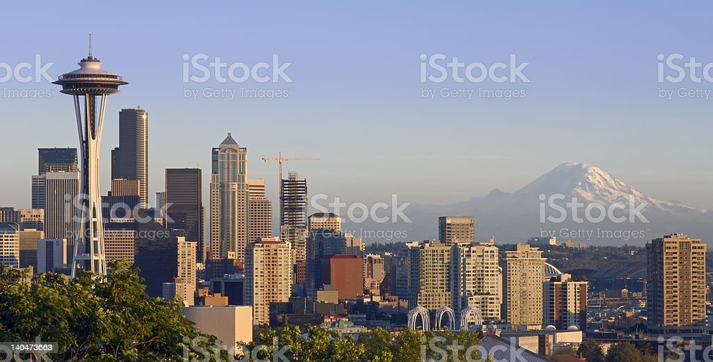 Seattle and the Mountain stock photo