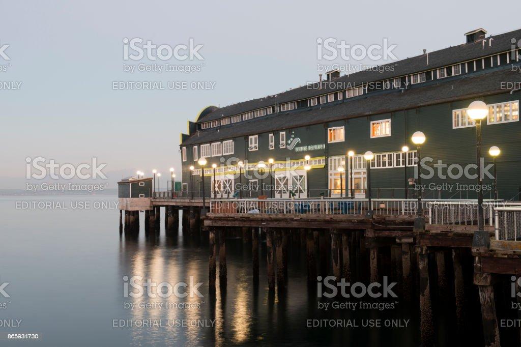 Seattle Aquarium at dawn stock photo