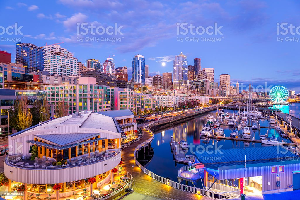 Seattle at night. Beautiful skyscrapers. Bright colors. stock photo