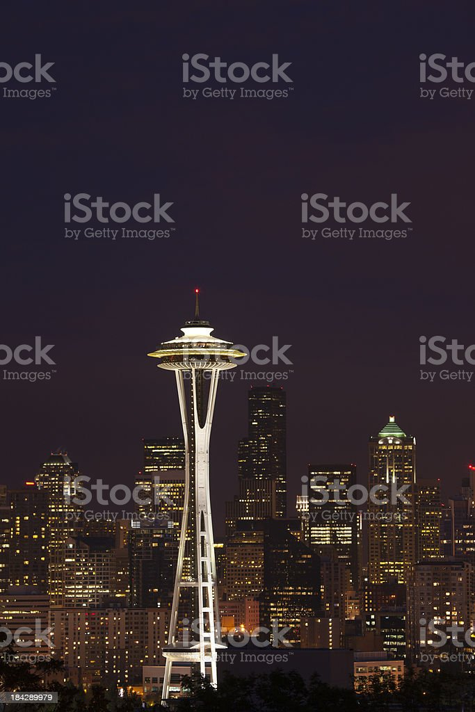 Seattle at night... stock photo