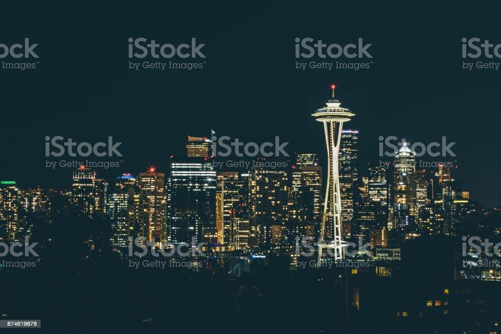 Seattle at night stock photo