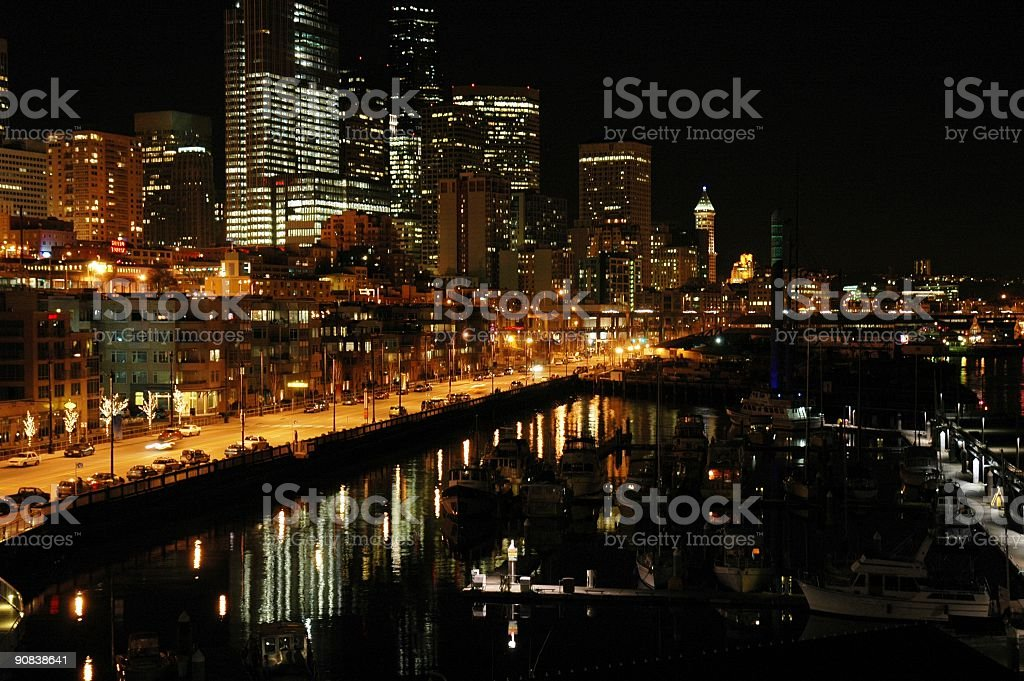 Seattle at Night royalty-free stock photo