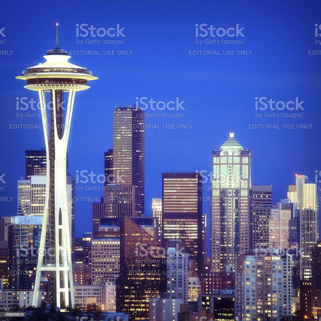 Seattle at night, Washington stock photo