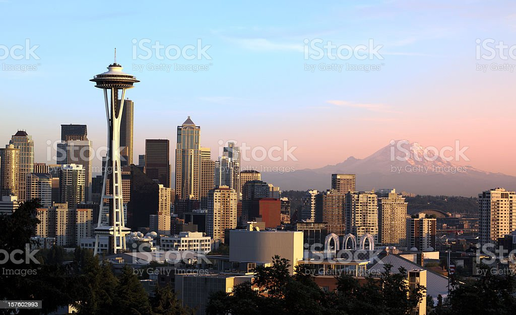 Seattle at Sunset stock photo