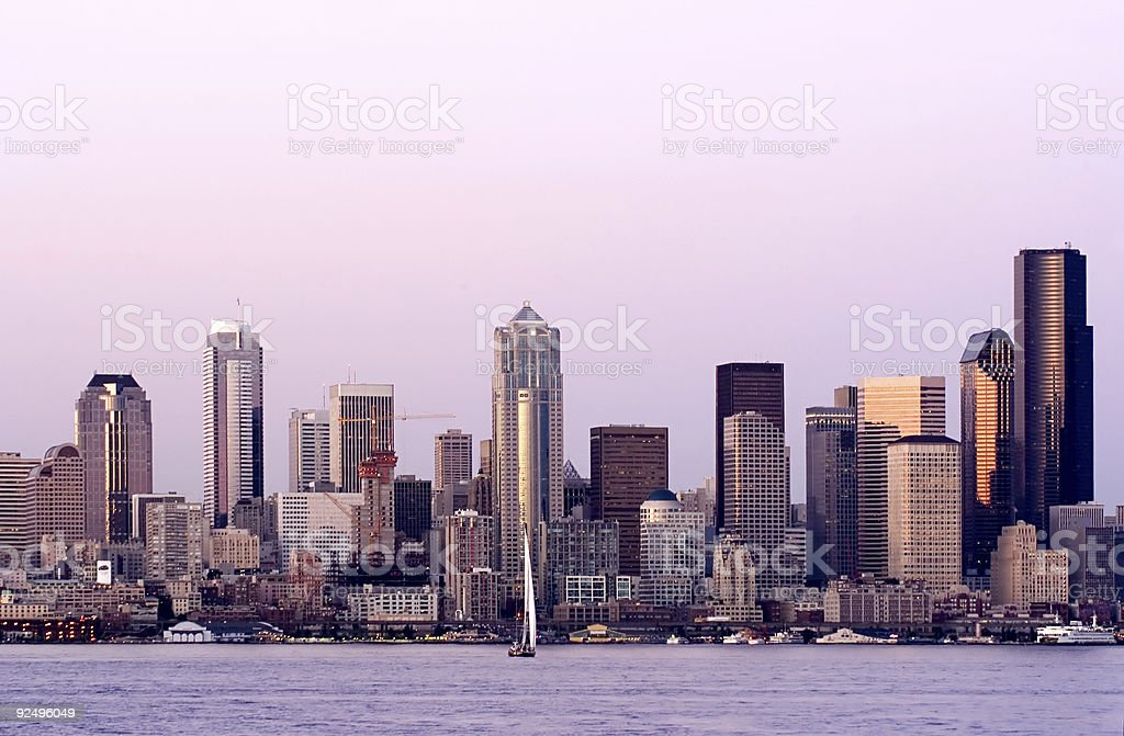Seattle at sunset royalty-free stock photo