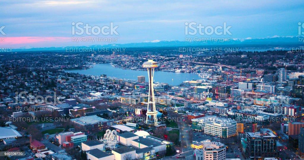 Seattle Center Aerial Landscape View Lake Union University of Washington Background royalty-free stock photo